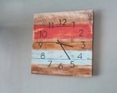 Rustic & Beachy Wall clock.  Coral, Sea Glass Blue. Beach House. Rustic Clock. reclaimed wood. Coastal decor. Beach theme. Pallet Wood