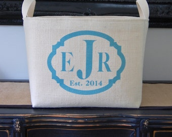 20% OFF! Personalized White Burlap Bin with Triple Monogram - choose from a wide variety of colors!