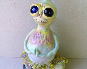 Polymer Clay Sculpture - Fantasy Figurine - Colby The Forest Dreamer - The Forgotten Forest Series - Mixed Media Sculpture - OOAK