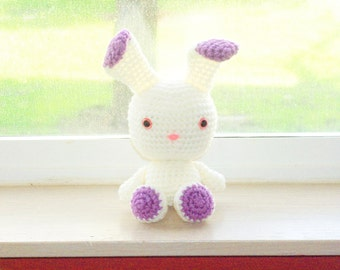 Two-Toned Bunny - Off White and Lilac Crochet Bunny