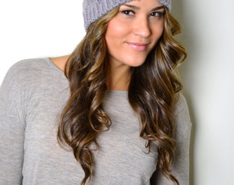 Taupe Cable Knit Beanie Hat, Cap, Knitted Hat, Knit Beanie Hat, Women's Hats, Winter Hat, Knitted Hats, Cable knit Hat
