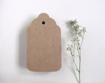 100 Large Kraft Tags, Wedding Favor Tags, Party Favor Tags, Scalloped, Weddings