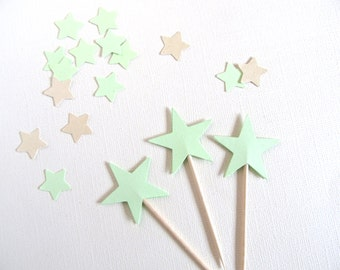 Mint Star Cupcake Toppers, Party Decor, Weddings, Showers, Birthdays, Graduation, Spring, Summer, Double-Sided, Set of 24