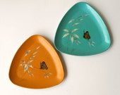Pair Catalina Woodenware, Two Vintage Turquoise Orange Butterfly Bamboo Lacquerware Trays, Triangluar Triangle Japan Asian Lacquer Ware