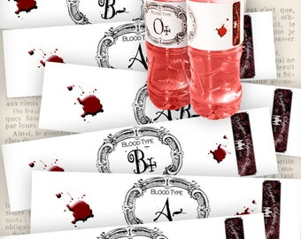 Vampire Blood Bottle Wrappers Halloween Bottle Jar Labels Tags printable images digital collage sheet VDLAHA0958
