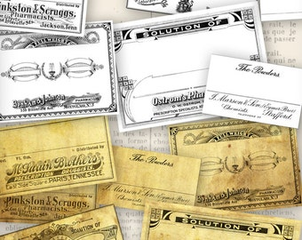 Vintage Apothecary Labels - printable / add your own text - VDAPVI0852
