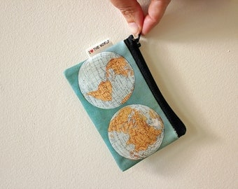 World map zipper pouch, coin purse with ancient world map on it, special gift, wallet, Women wallets, Mens wallet