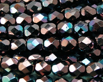 Czech Glass Beads, 6mm Faceted, Fire Polished in Luster - Metallic Amethyst -25