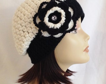 "Slouch beanie,cloche,cap,hat with flower ivory and black fits teen - adult 21""-23"""