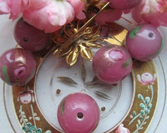 Large Pink And Gold Rose Bead