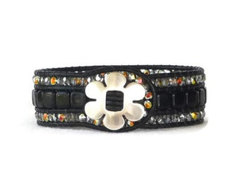 Beaded leather cuff, 3 row, black, wrap bracelet, boho, silver and gold, black leather cuff