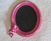 Lovely Baroque Vintage Wood Framed Chalkboard - Hot Pink Vintage Memo Board - Coordinated Fabric Chalk Tote