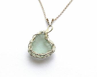 Seafoam aqua Genuine Sea Glass Hand Knitted Fine Silver Wire  Heart Pendant with 18 inch  chain necklace