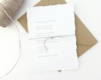 PAPER SAMPLE Vintage Typewriter Simple Wedding Invitation / Save the Date / Deckled Edging Invitation / Letterpress Wedding Invitation