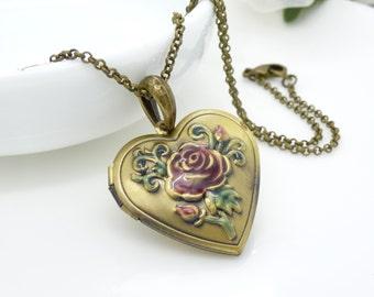 Dark pink rose locket, heart locket, Antique brass bronze pink flower heart locket necklace, green and dusky rose pink hand painted locket