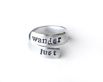 handstamped rings, metal adjustable ring - silver ring - boho ring - wanderlust jewelry - travel, wander, adventure, handmade jewelry