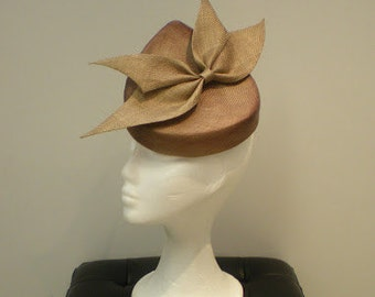 Couture parasisal bronze fascinator with bow