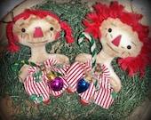 Folk Art Christmas Raggedy Ann Doll Christmas Ornies Set of 2