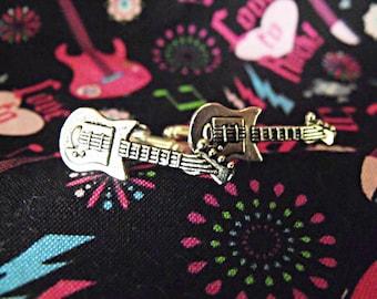 Silver Cufflinks,  Mens Steampunk Guitar  Mens Accessories  Wedding Groomsmen Handmade