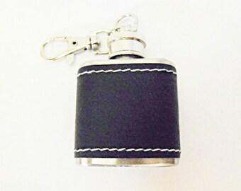Black Leather Wrapped Mini Key Chain Flask 1 ounce  Mens Womens Gift  Handmade