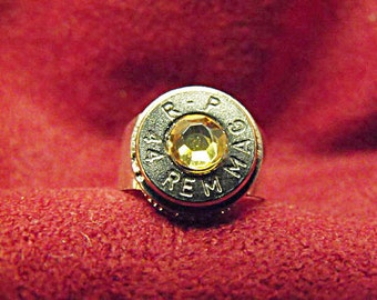 Bullet Ring 44 Magnum with Carmel Rhinestone Mens Womens Gift Handmade