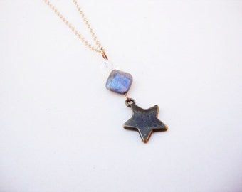 labradorite,moonstone,and aged brass star charm on gold plated chain