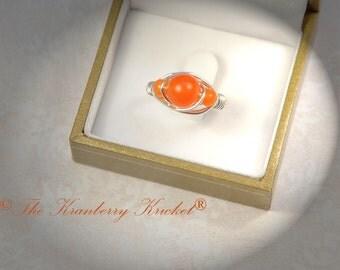 Orange Jade Ring, Swadhisthana, Reiki, Yoga, Healing, Boho Ring, Bohemian Ring, Size 7