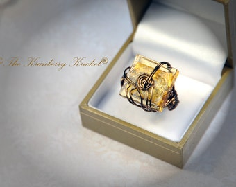 Gold Leaf Lampwork Glass Square Ring, Amber Glass Ring, Cognac Glass Ring size 7