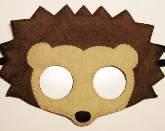 Hedgehog felt mask - brown - childrens animal costume - handmade gift for boys girls - soft dress up play accessory - Theatre roleplay