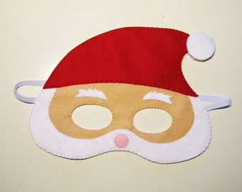Santa Claus felt Christmas mask / white red / handmade costume for boys girls adults / soft dress up play accessory / Theatre roleplay