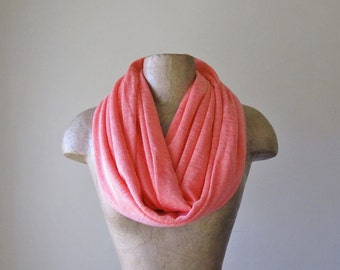 CORAL PINK Infinity Scarf - Lightweight Tube Scarf - Knit Circle Scarf - Womens Scarf