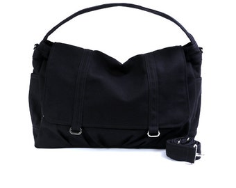 ASHTON B // Black / Lined with Grey Stripes / 060B // Ship in 3 days // Messenger Bag / Diaper bag / Shoulder bag / Tote bag / Gym bag