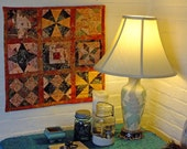 Charm Quilt Wall Hanging- EASY to HANG - Traditional with a Twist Surface Design - Great for Small Spaces - FREE shipping