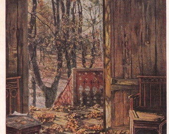 "I. Brodsky ""Autumn Leaves"" Postcard - 1957. The Truth Publ., Moscow"