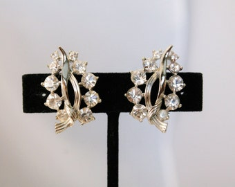 LISNER Silver and Rhinestone Leaf Style Earrings - Clip On