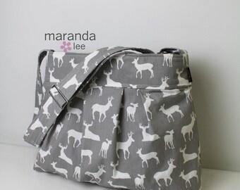Emma Large Diaper Bag Messenger Bag  - Grey Deer lined with CUSTOM Lining -   Nappy Bag Adjustable Strap Baby Gear Nappy  Bag