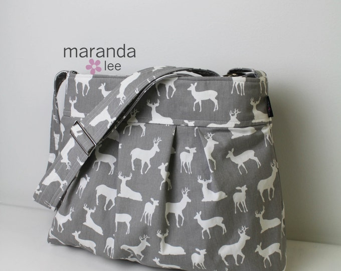 Emma Large Diaper Bag Messenger Bag  - Grey Deer lined with CUSTOM Lining -   Nappy Bag Adjustable Strap Baby Gear Nappy  Bag