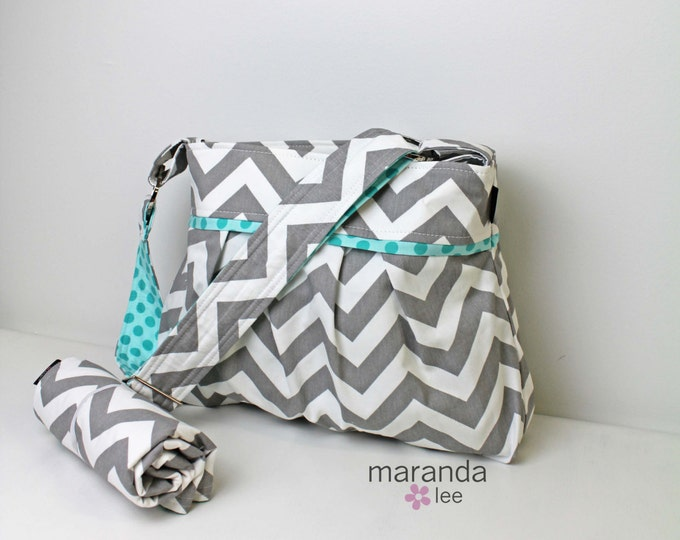 Stella CHEVRON Diaper Bag Set with Changing Mat Pad- Medium - New Grey Chevron and Sea Dots- Baby Gear Attach to Stroller