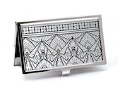 Geometric Art Deco Business Card Case, Silver and Black, Credit Card Case, Calling Card Case, Handmade