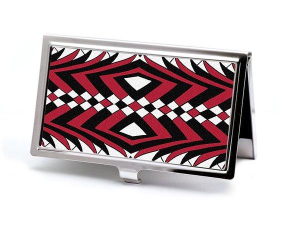 Art Deco Credit Card Case, Business Card Case, Card Holder - Bold Red and Black Geometric Design