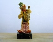 Vintage Clown with Violin Figurine, Fontanini Clown Figurine