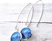 Silver FIREFLY EARRINGS / Art Jewelry / Blue Earrings / Nature Star Jewelry