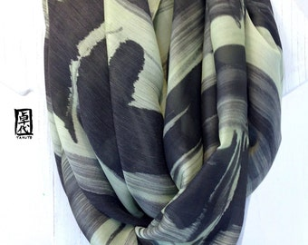 Hand Painted Silk Wool Scarf, Black and Green Warm Silk Wool Shawl, Zen Bamboo Forest, Silk Scarves Takuyo, 36x80 inches,