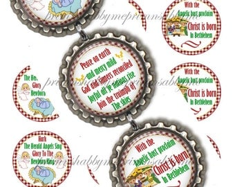 Hark The Herald Angels Sing, Christmas, Bottle Cap Images, Christmas Digital Collage Sheet, Christmas Ornaments (1) 1 Inch Christmas Circle