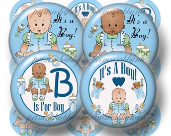 "It's A Boy - Bottle Cap Images, 1 Inch Circles, Digital Collage Sheet, Baby Shower, Printable, 1"" Circles, Cupcake Toppers, Crafts, (No. 3)"