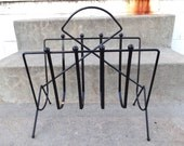 Black Mid Century Metal Magazine Rack Goth Home Decor