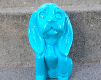 Turquoise Adorable Wooden Dog Kitsch Home Decor