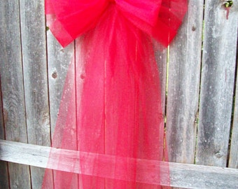 Red Pew Bow, Valentine Wedding, Red Tulle, Tulle Pew Bow, Christmas Wedding, Red Aisle Decor, Church Pew Decoration