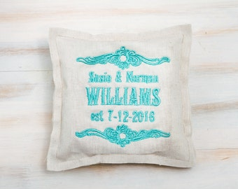 Embroidered Ring Pillow Wedding Ring Pillow Personalized Ring Bearer Pillow Custom Ring Pillow Linen Wedding Pillow Rustic Ring Pillow
