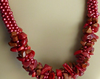 """Red beaded Kumihimo cluster necklace, adjustable necklace, """"Firecracker"""""""